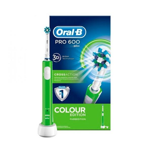 Braun oral-b pro 600 crossaction verde cepillo de dientes eléctrico recargable con tecnología 3d