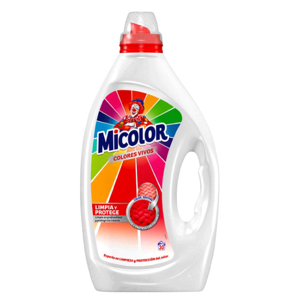Detergente Líquido Micolor Colores Vivos 30 Lavados