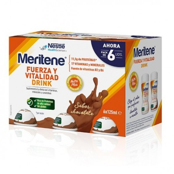 MERITENE FUERZA Y VITALIDAD DRINK CHOCOLATE 6U